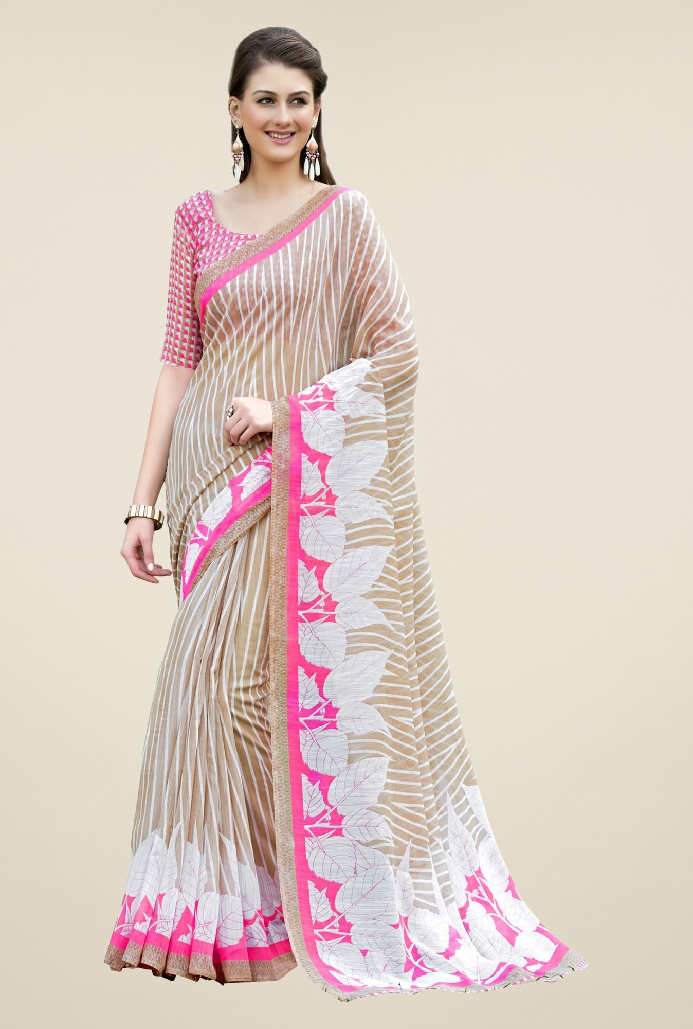 Triveni Beige Striped Art Silk Saree