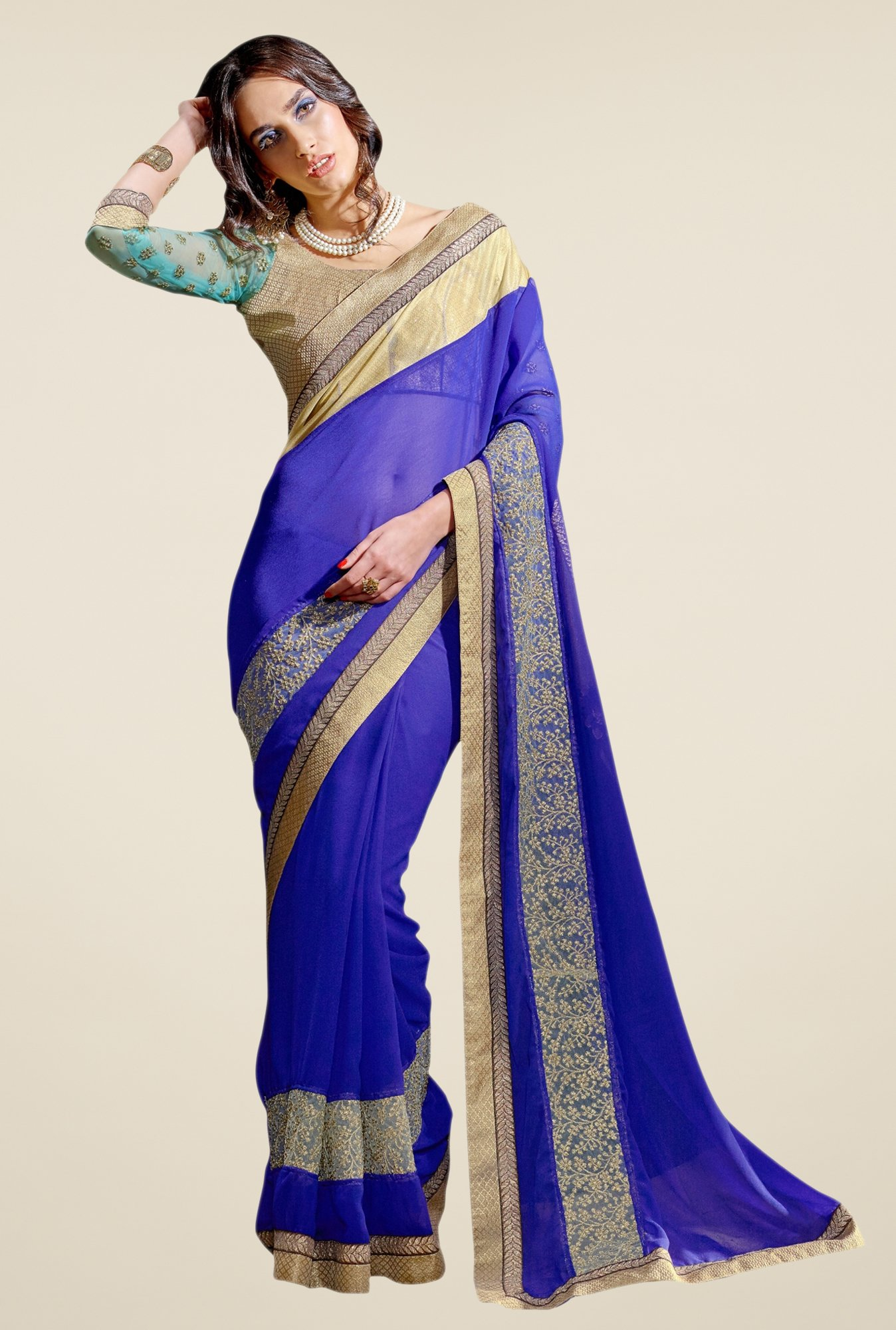 Triveni Blue Solid Net Georgette Saree