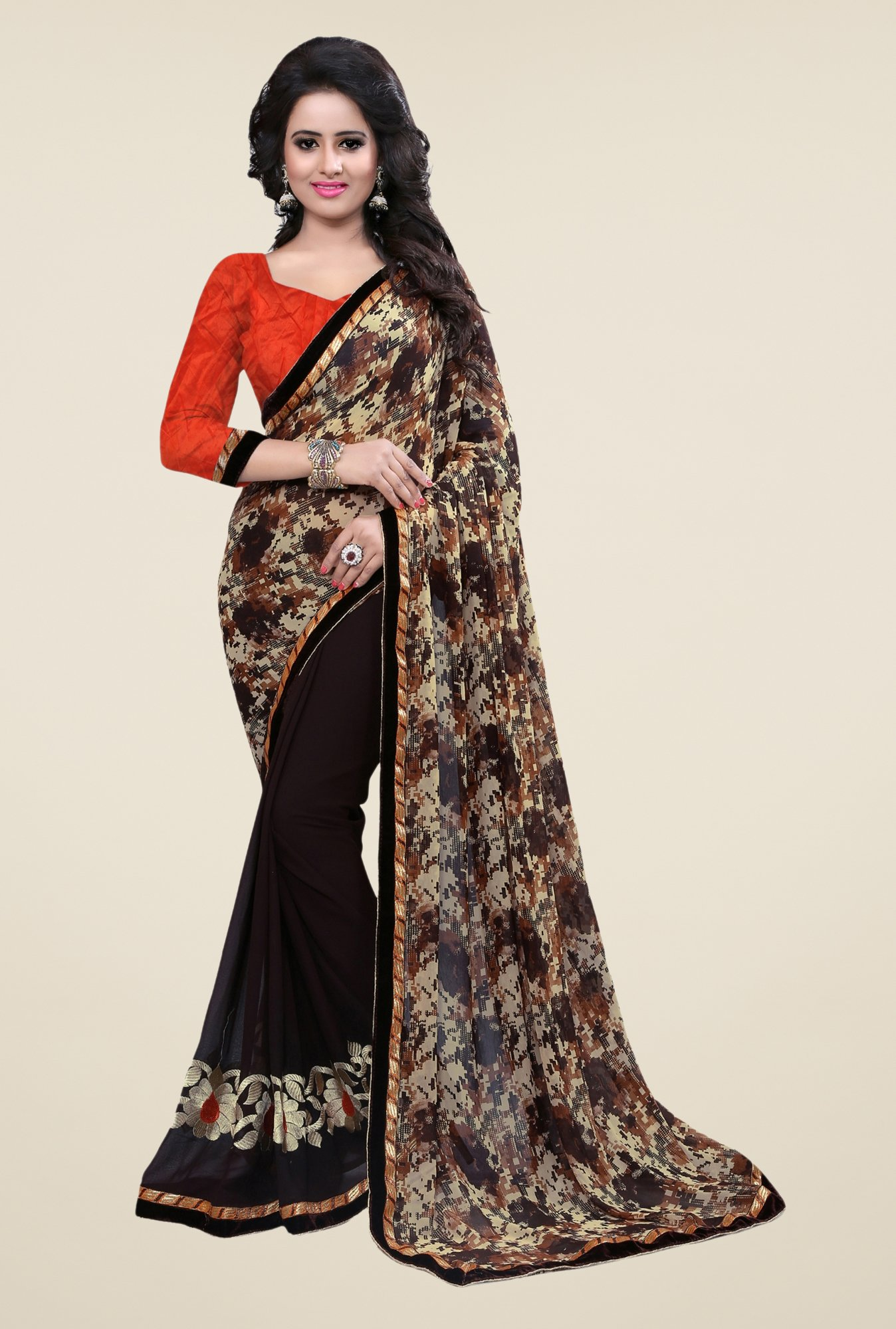 Triveni Brown Printed Dry Clean Saree
