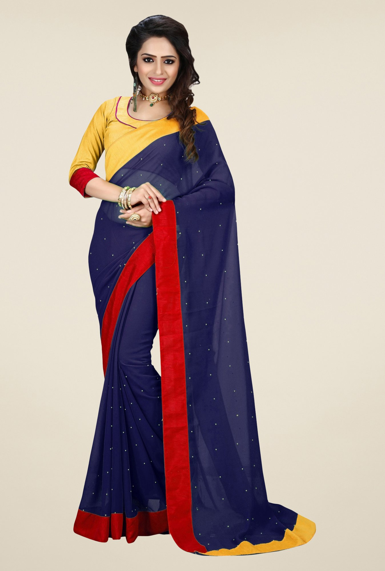 Triveni Navy Solid Faux Georgette Saree
