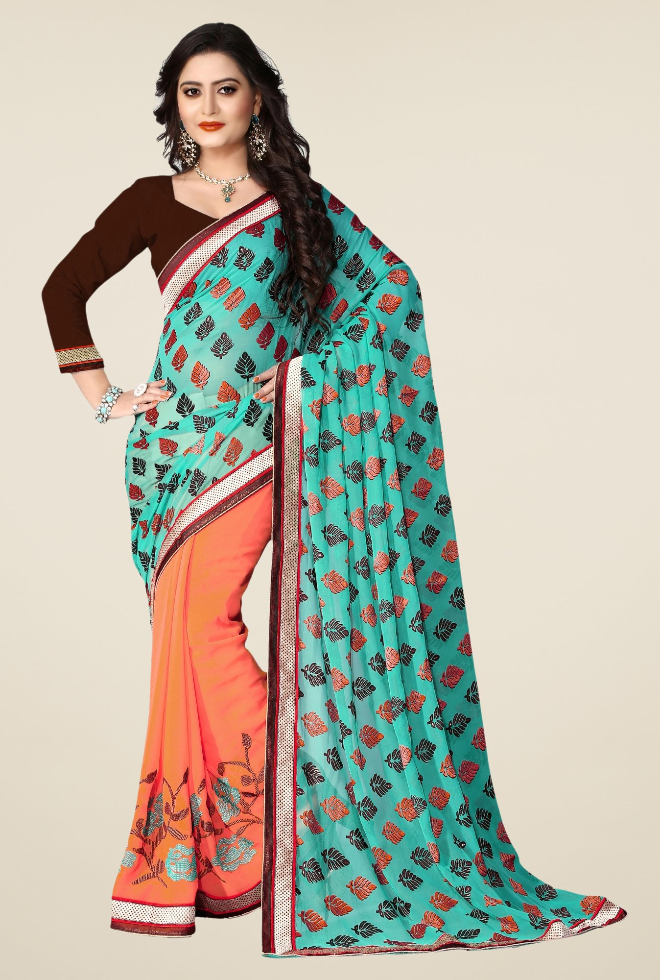 Triveni Peach Embroidered Jacquard Georgette Saree