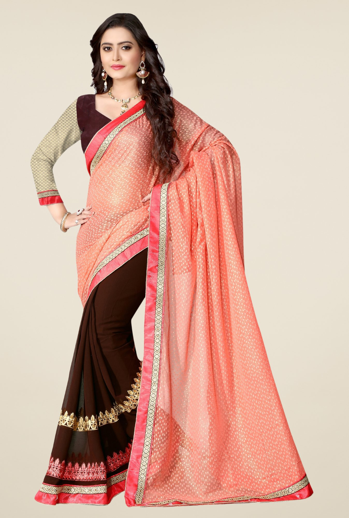 Triveni Brown Embroidered Jacquard Georgette Saree