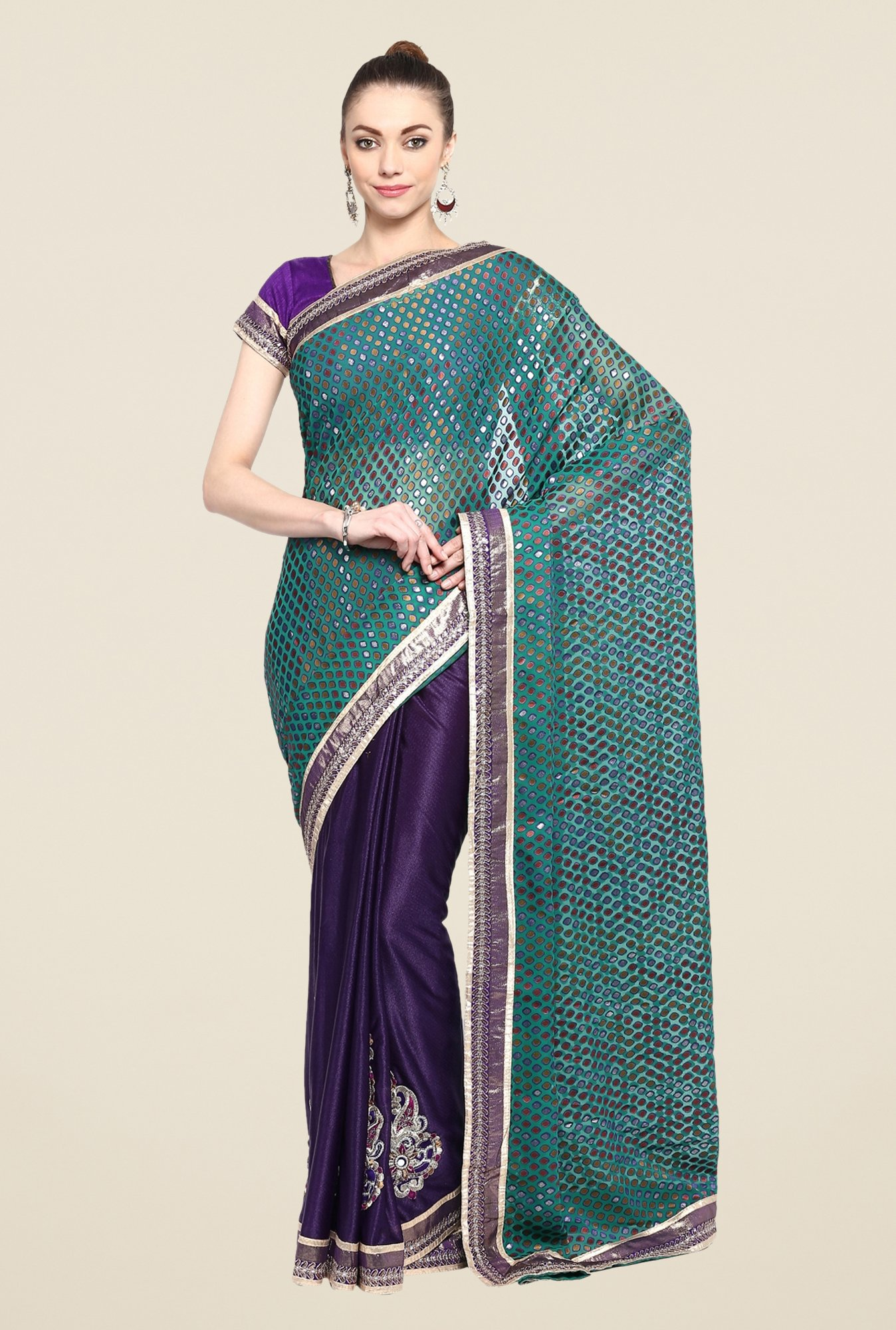 Triveni Purple Printed Georgette Lycra Saree