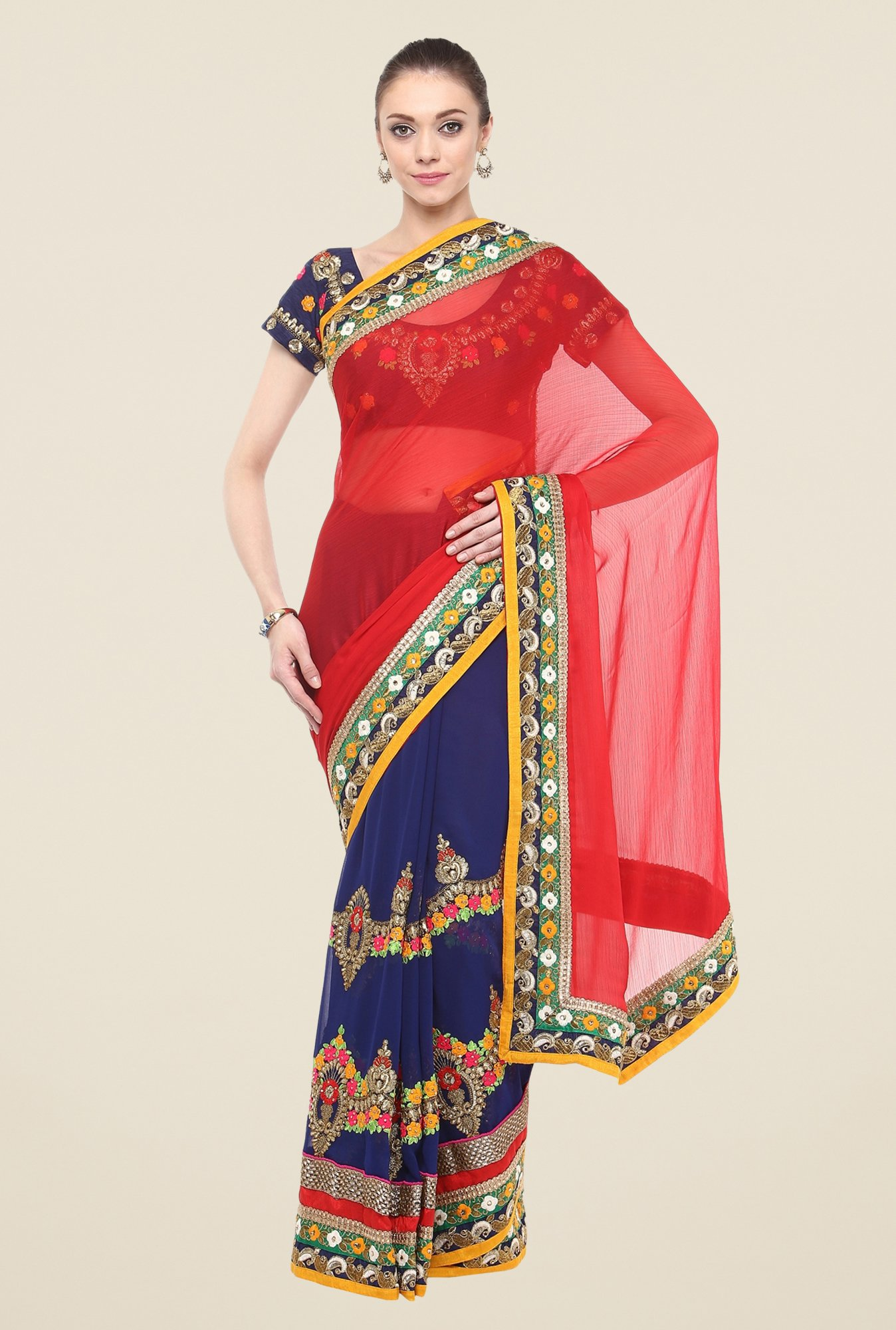 Triveni Navy Embroidered Faux Georgette Free Size Saree