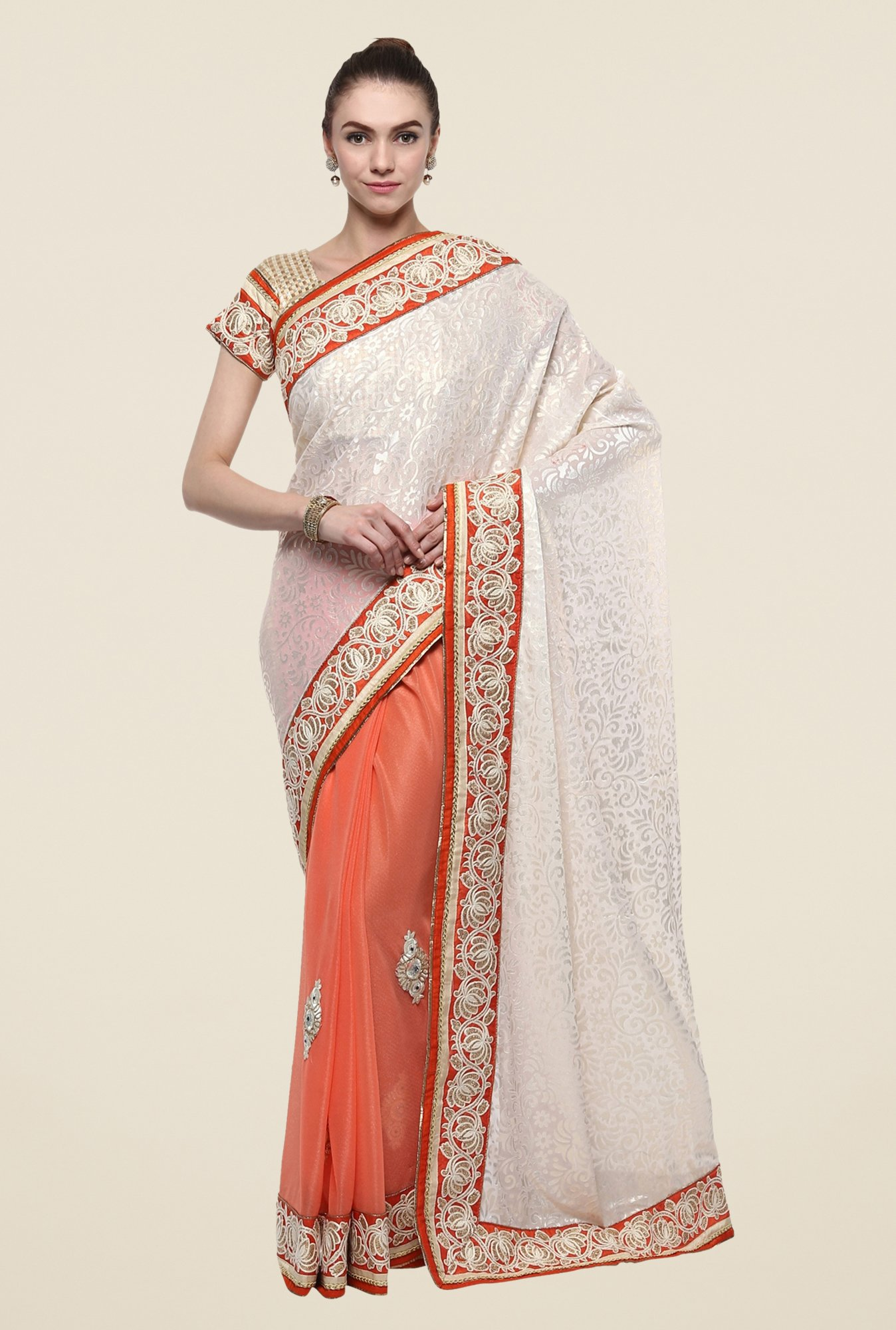 Triveni Orange Printed Georgette Lycra Saree