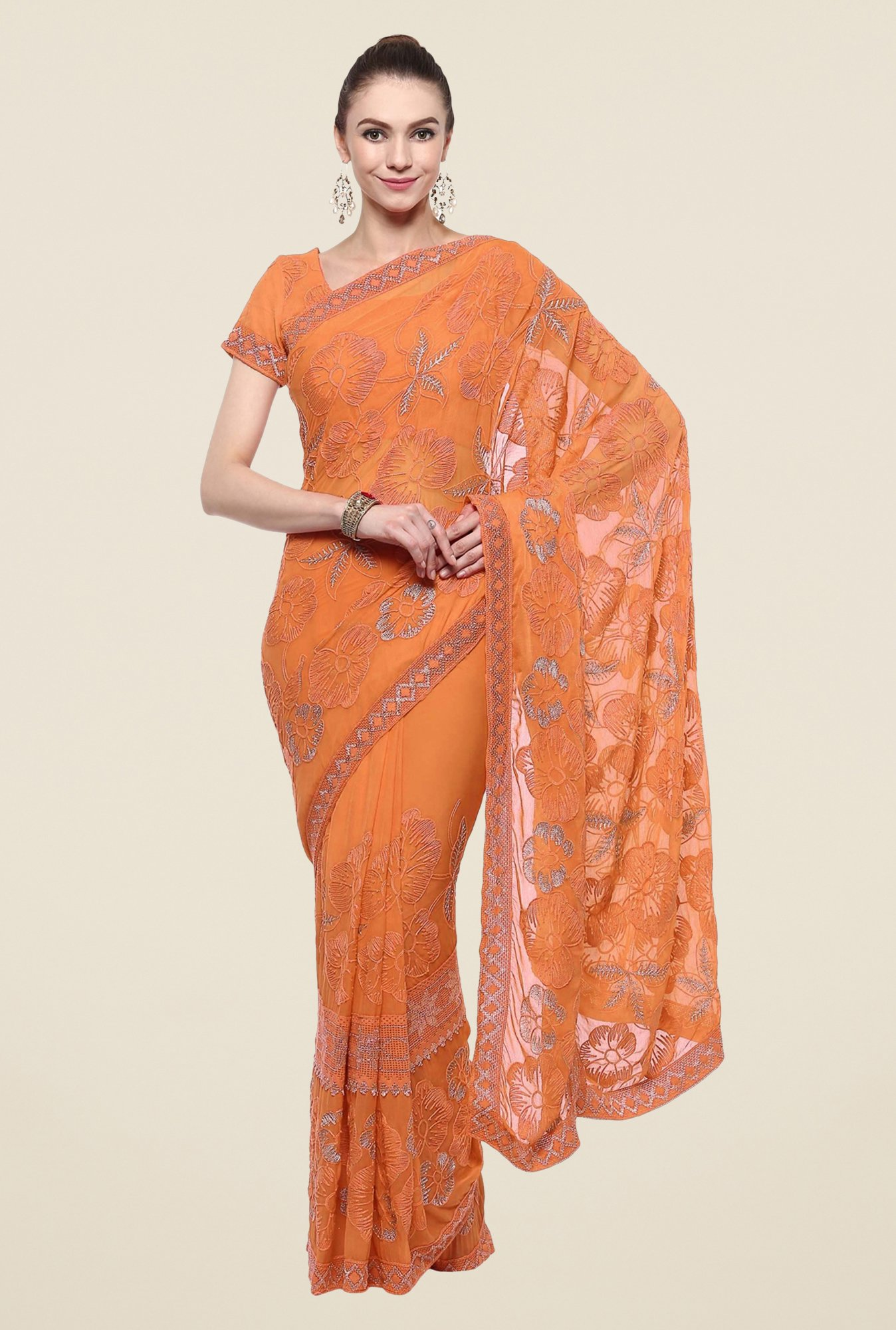 Triveni Orange Embroidered Chiffon Saree