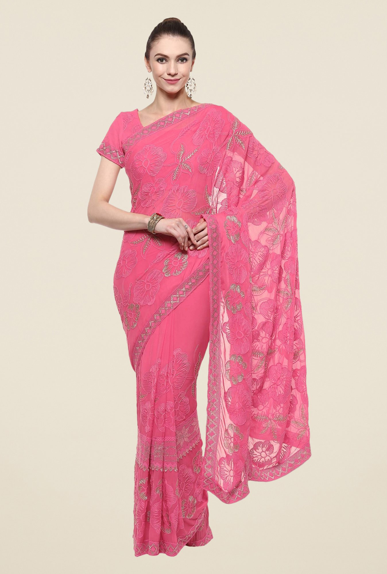 Triveni Pink Embroidered Chiffon Saree
