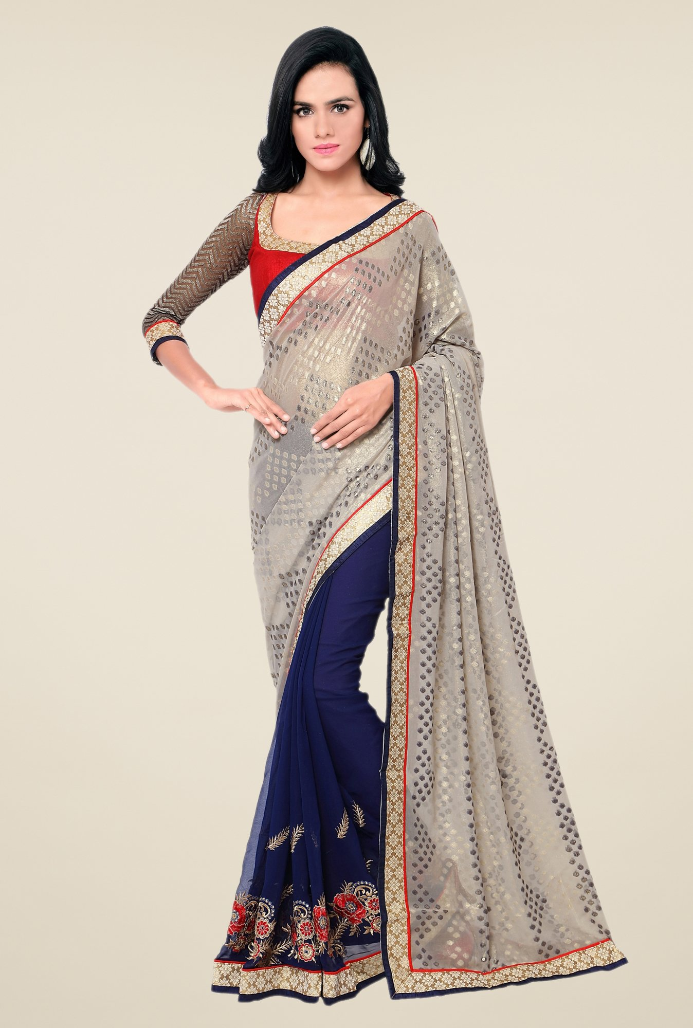 Triveni Navy Printed Georgette Shimmer Saree