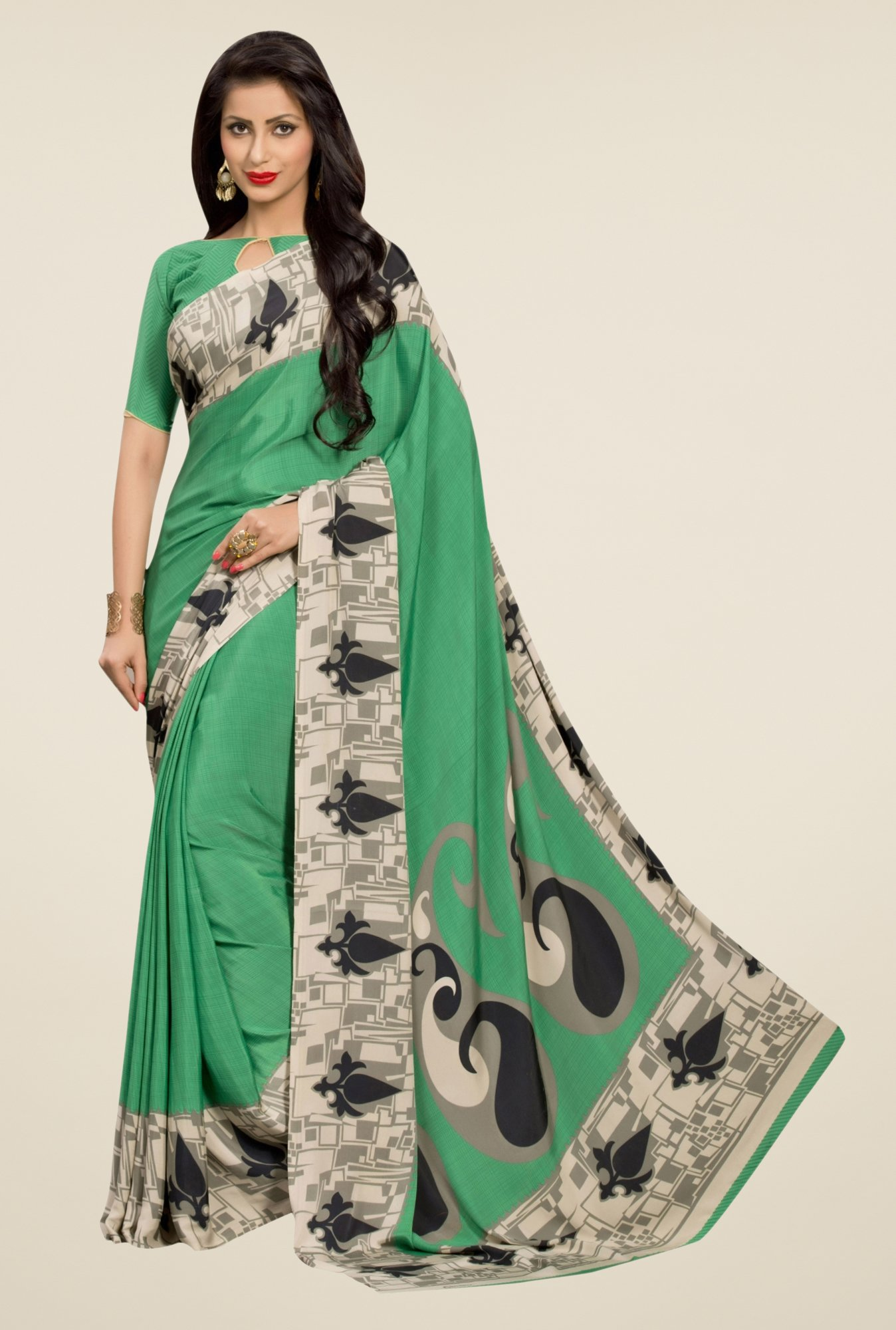 Triveni Green Printed Silk Crepe Saree