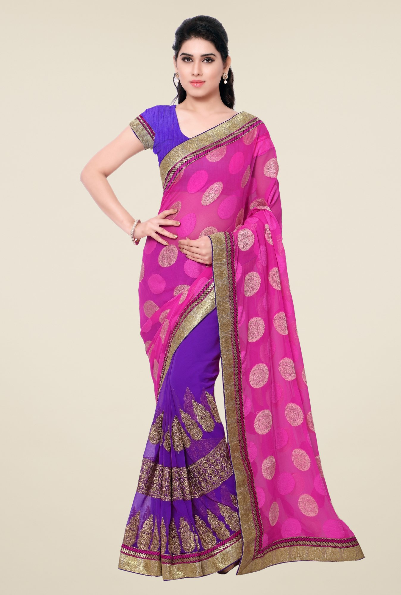 Triveni Purple & Pink Printed Georgette Chiffon Saree