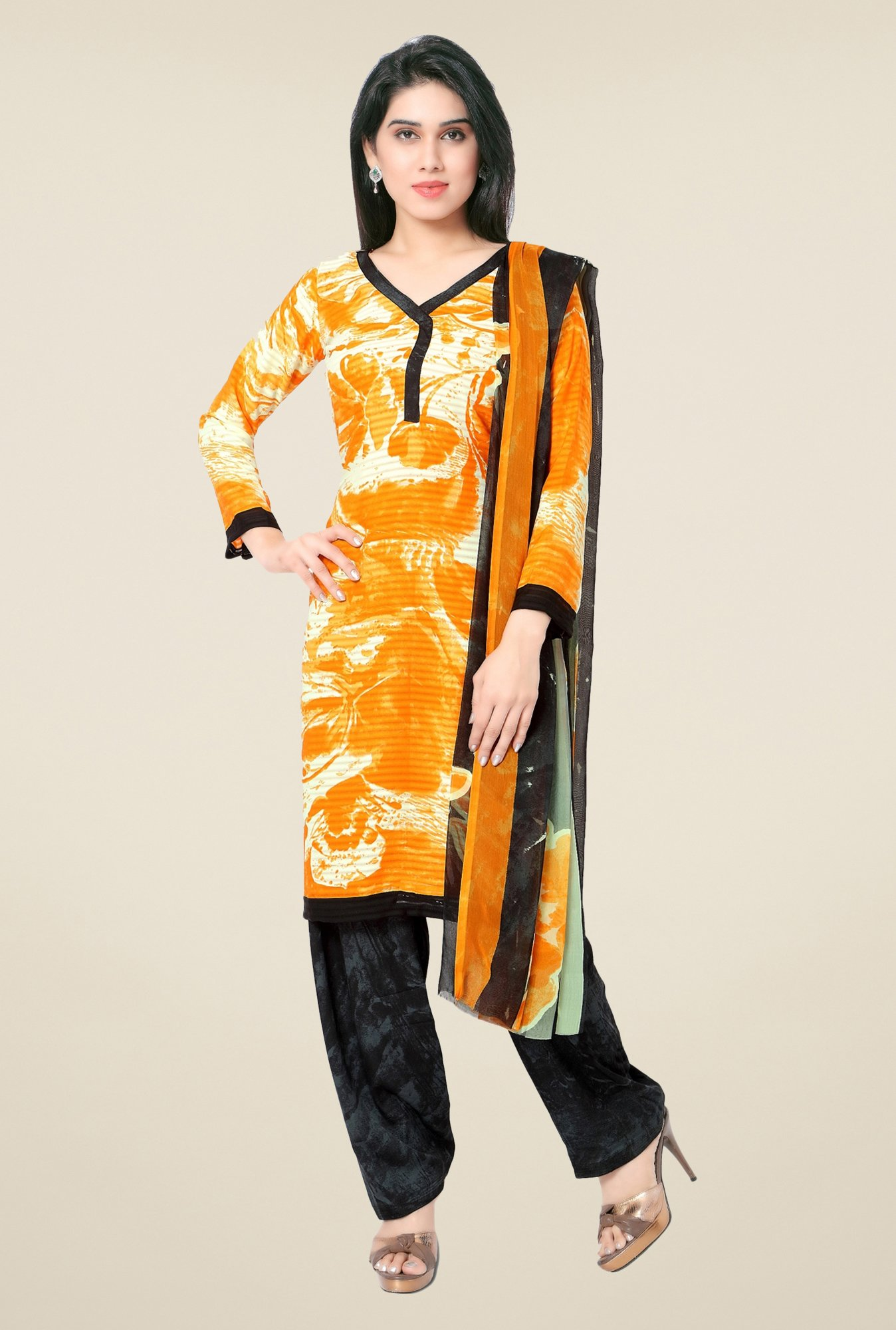 Triveni Orange & Black Printed Faux Georgette Dress Material