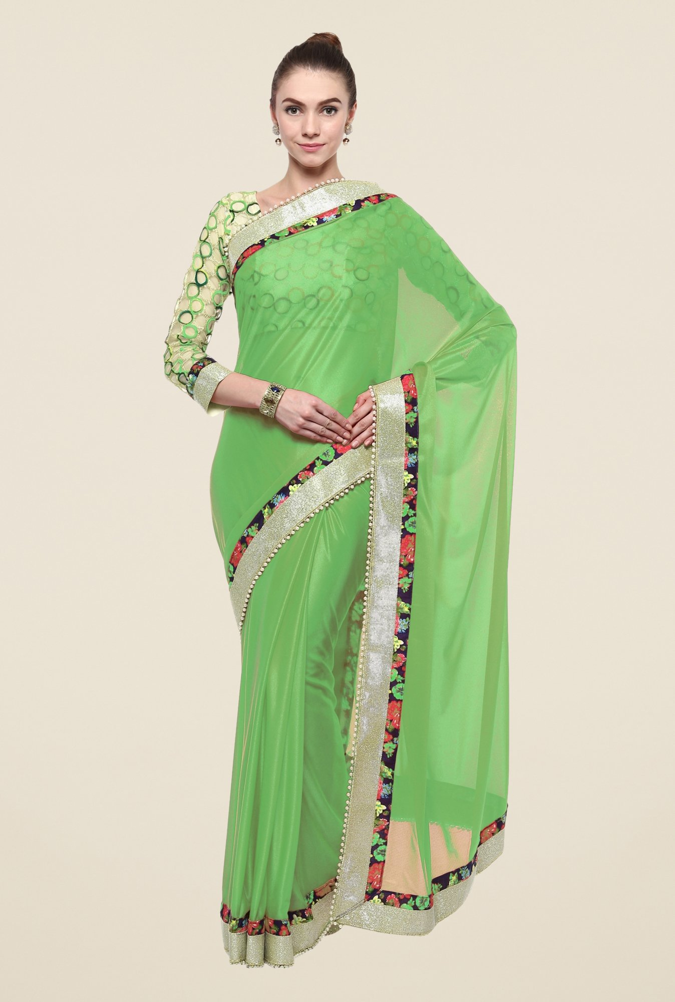 Triveni Green Solid Lycra Saree