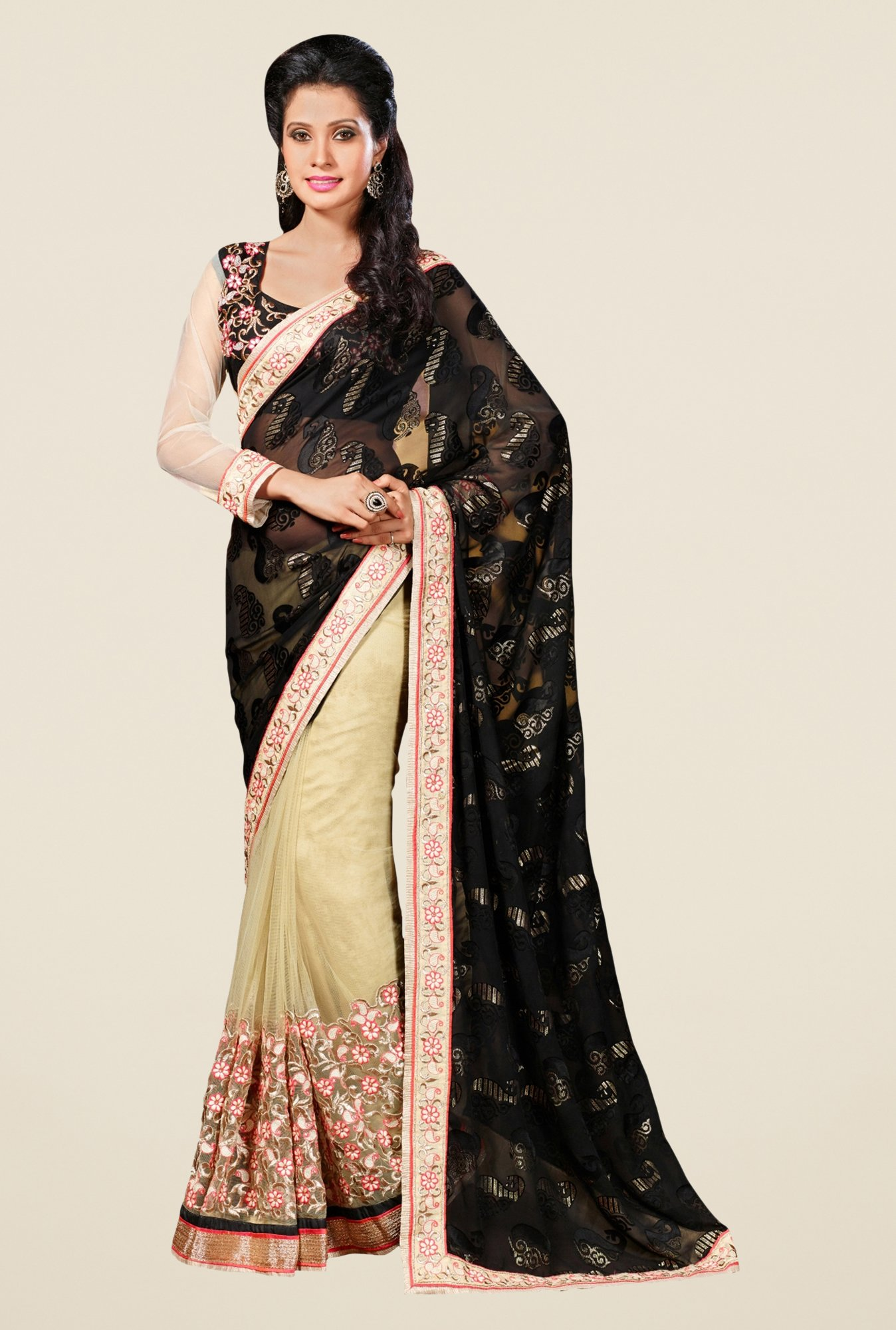 Triveni Beige Embroidered Brasso Net Saree