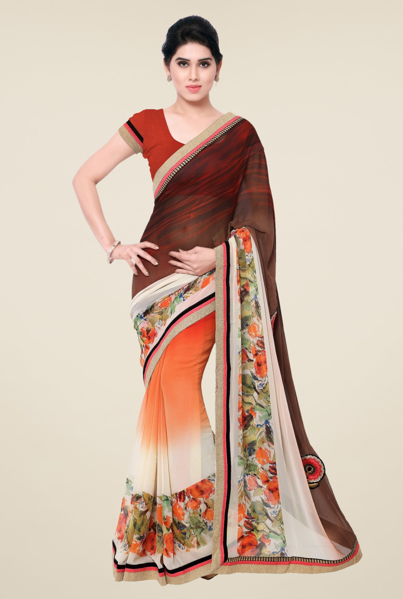Triveni Orange Printed Faux Georgette Saree