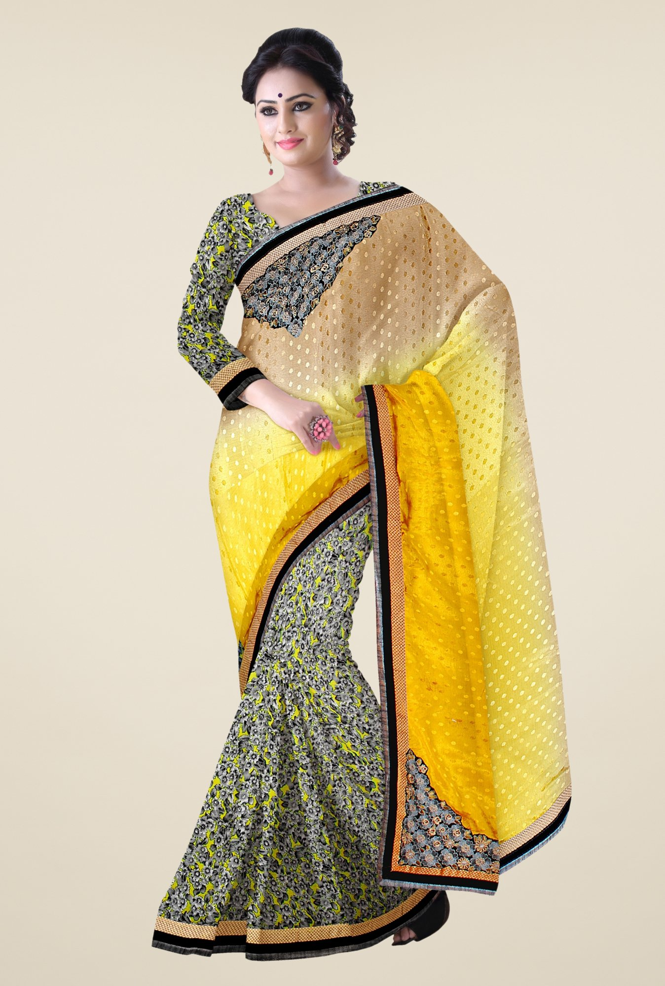 Triveni Multicolor Printed Chiffon Georgette Satin Saree