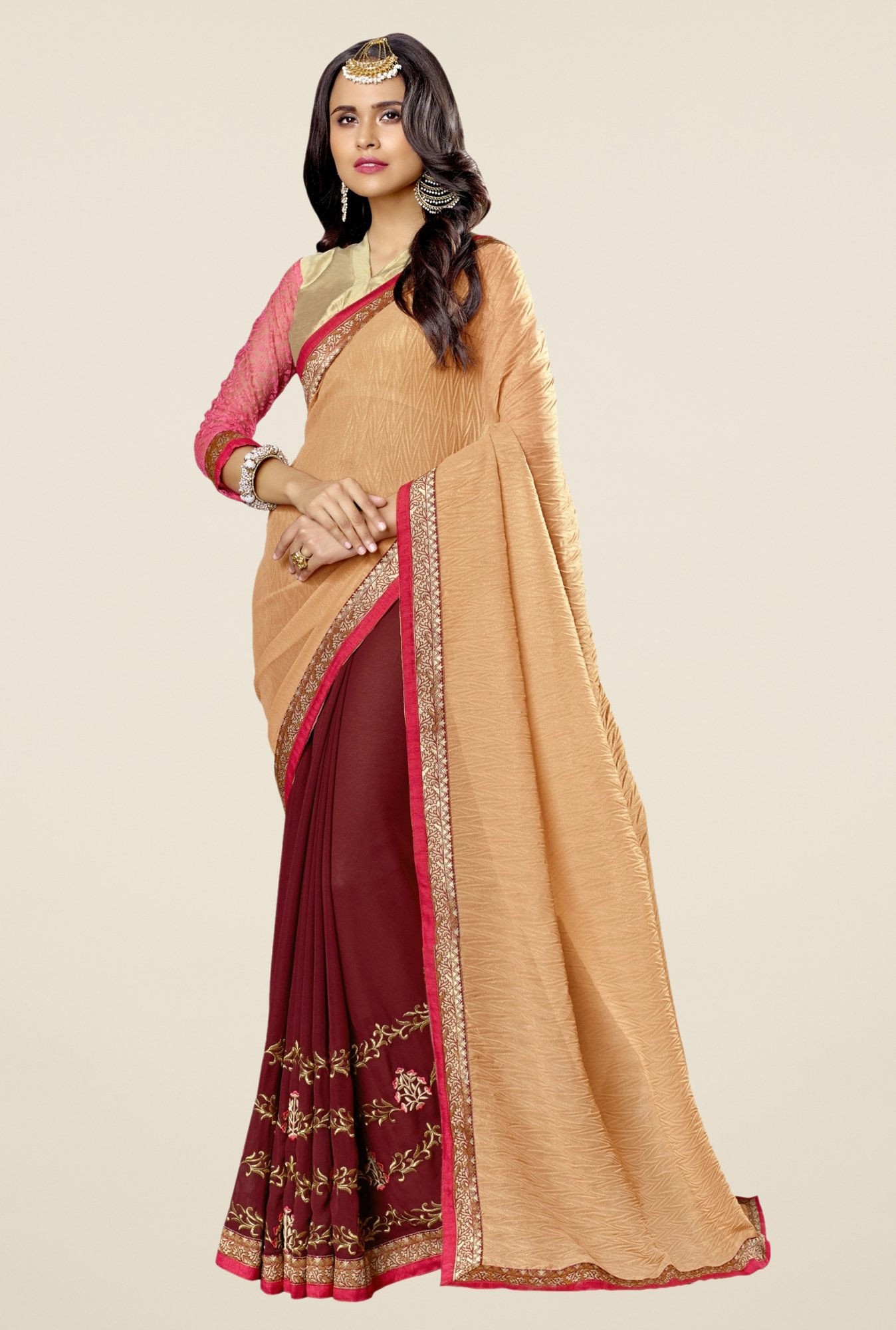 Triveni Maroon Embroidered Faux Georgette Saree