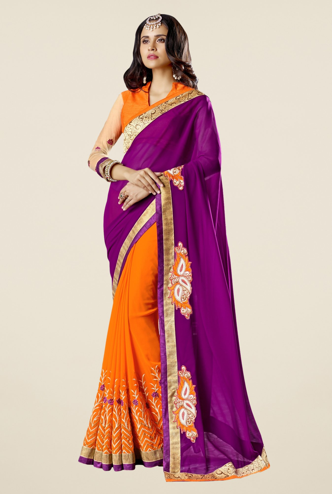 Triveni Orange Embroidered Faux Georgette Free Size Saree