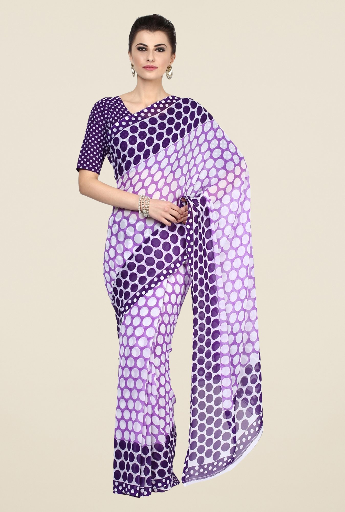Triveni Purple Polka Dots Faux Georgette Saree