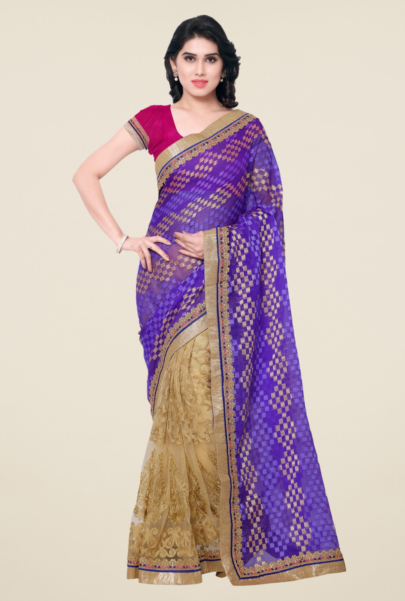 Triveni Multicolor Embroidered Net Brasso Saree