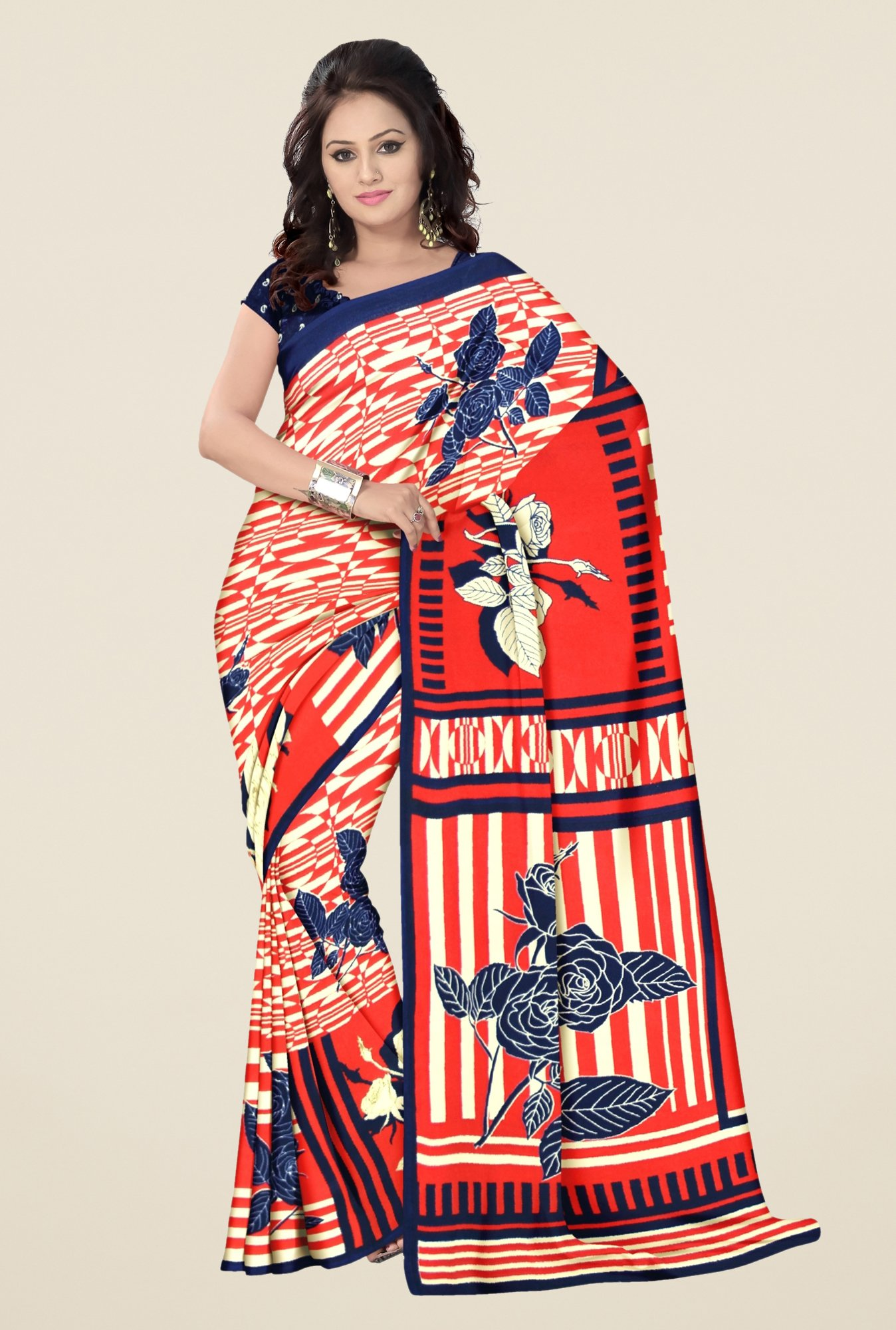 Triveni Red Printed Faux Georgette Dry Clean Saree