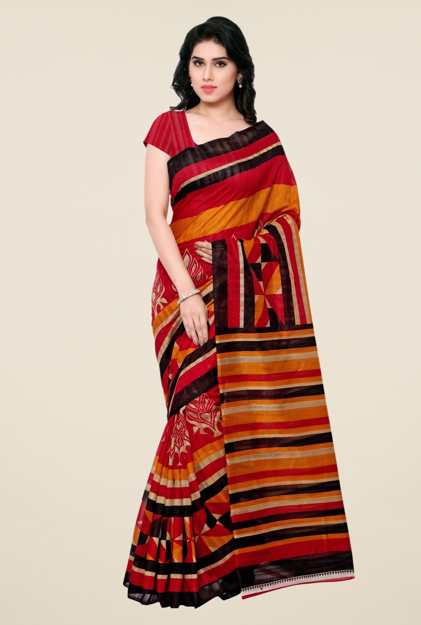 Triveni Multicolor Printed Art Silk Free Size Saree