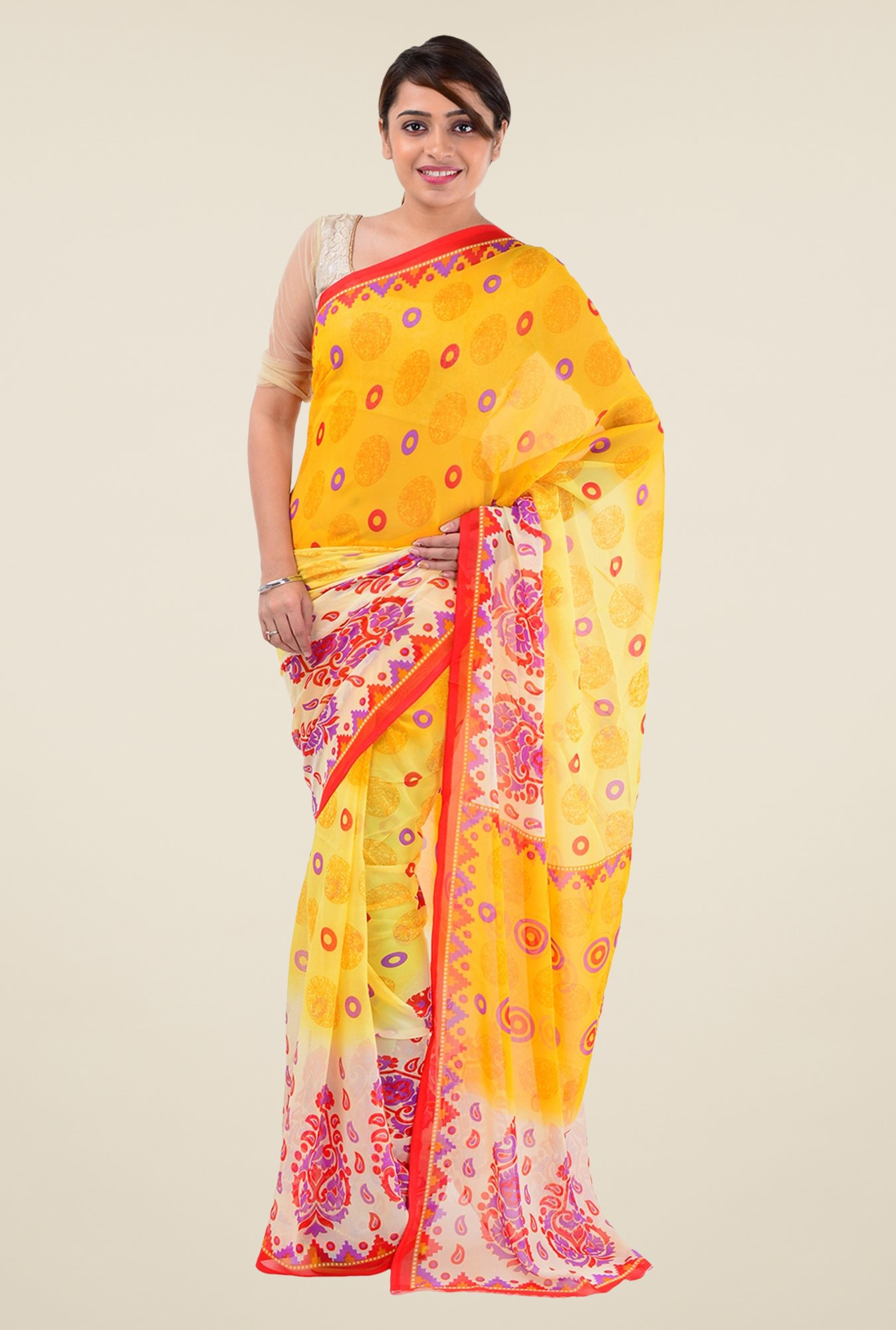 Triveni Yellow Printed Faux Georgette Dry Clean Saree