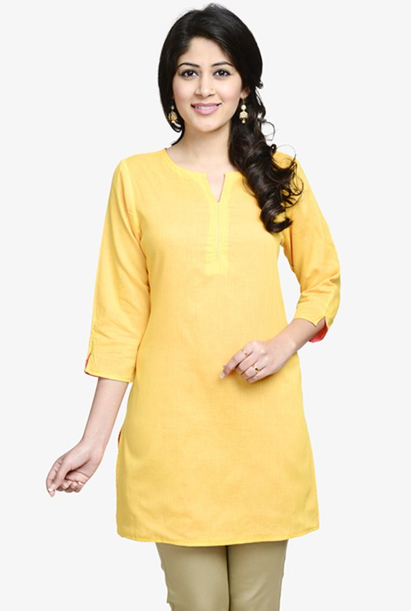 Fabindia Coral & Yellow Reversible Kurti