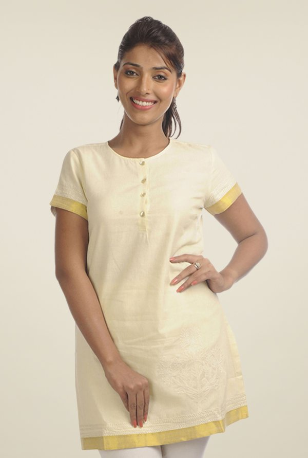 Fabindia Beige Embroidered Kurti