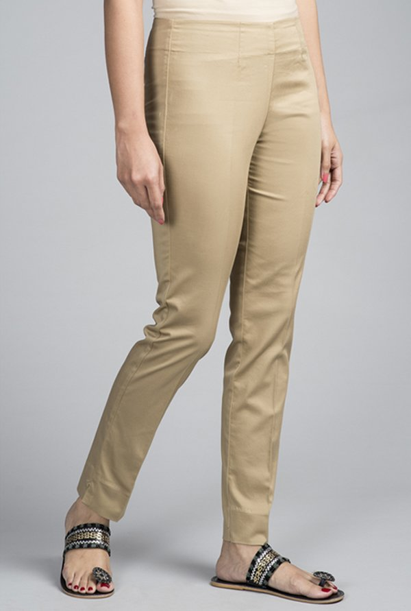 Fabindia Beige Solid Trousers