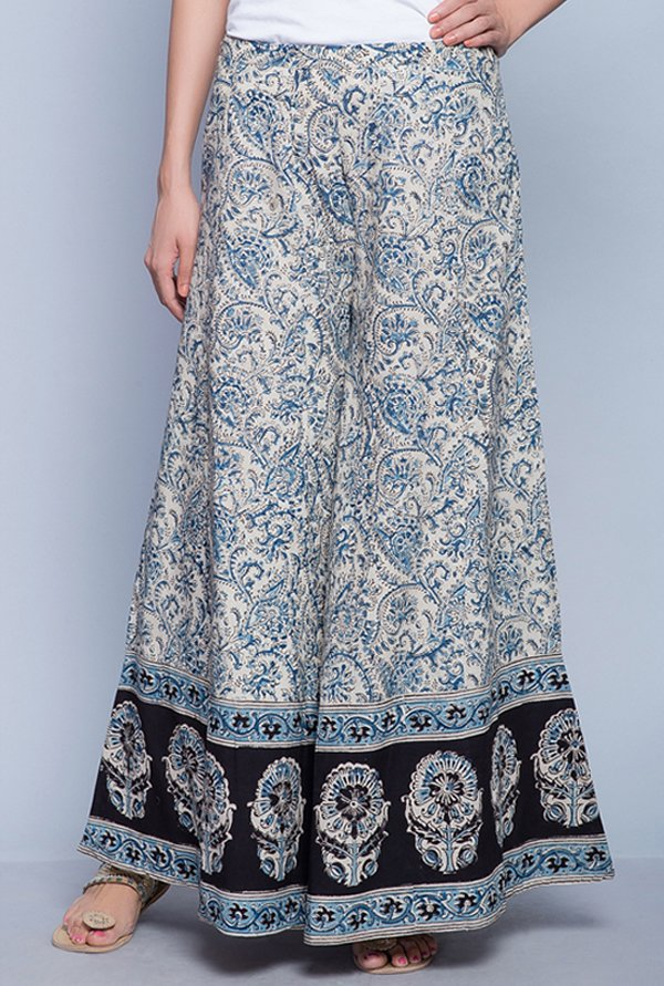 Fabindia Blue & Beige Printed Palazzos