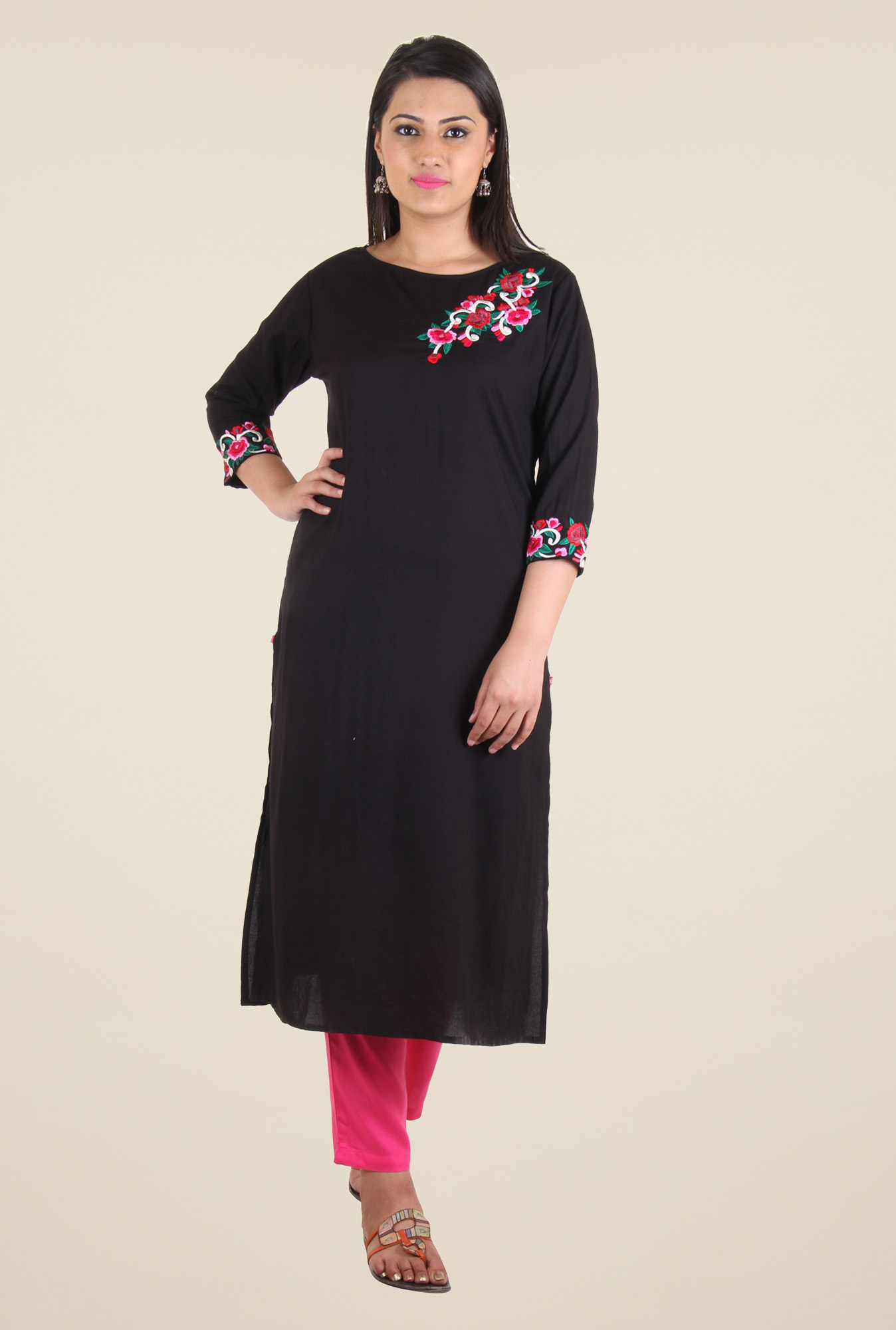 Shree Black Rayon Embroidered Kurti