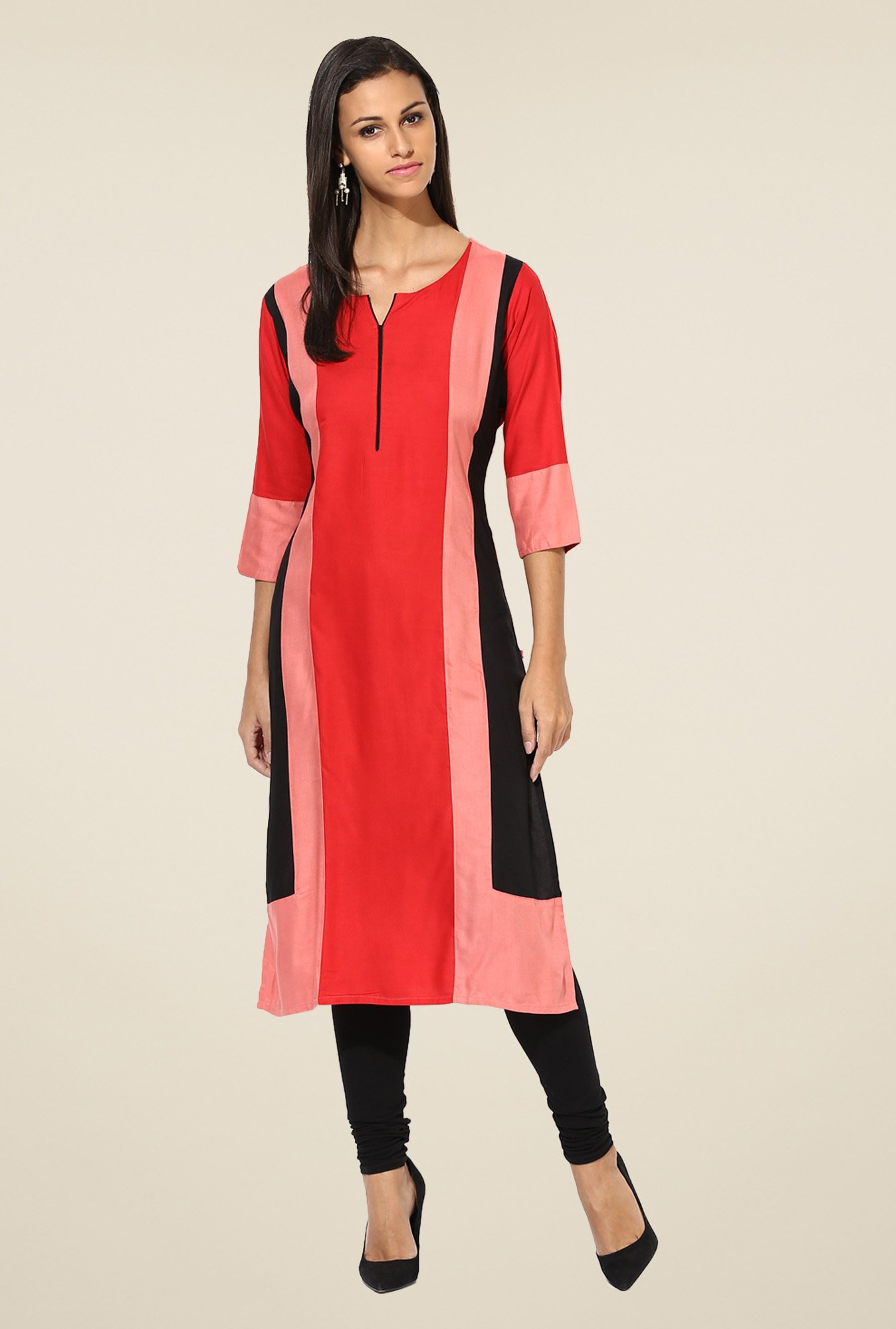 Shree Red Rayon Solid Kurta