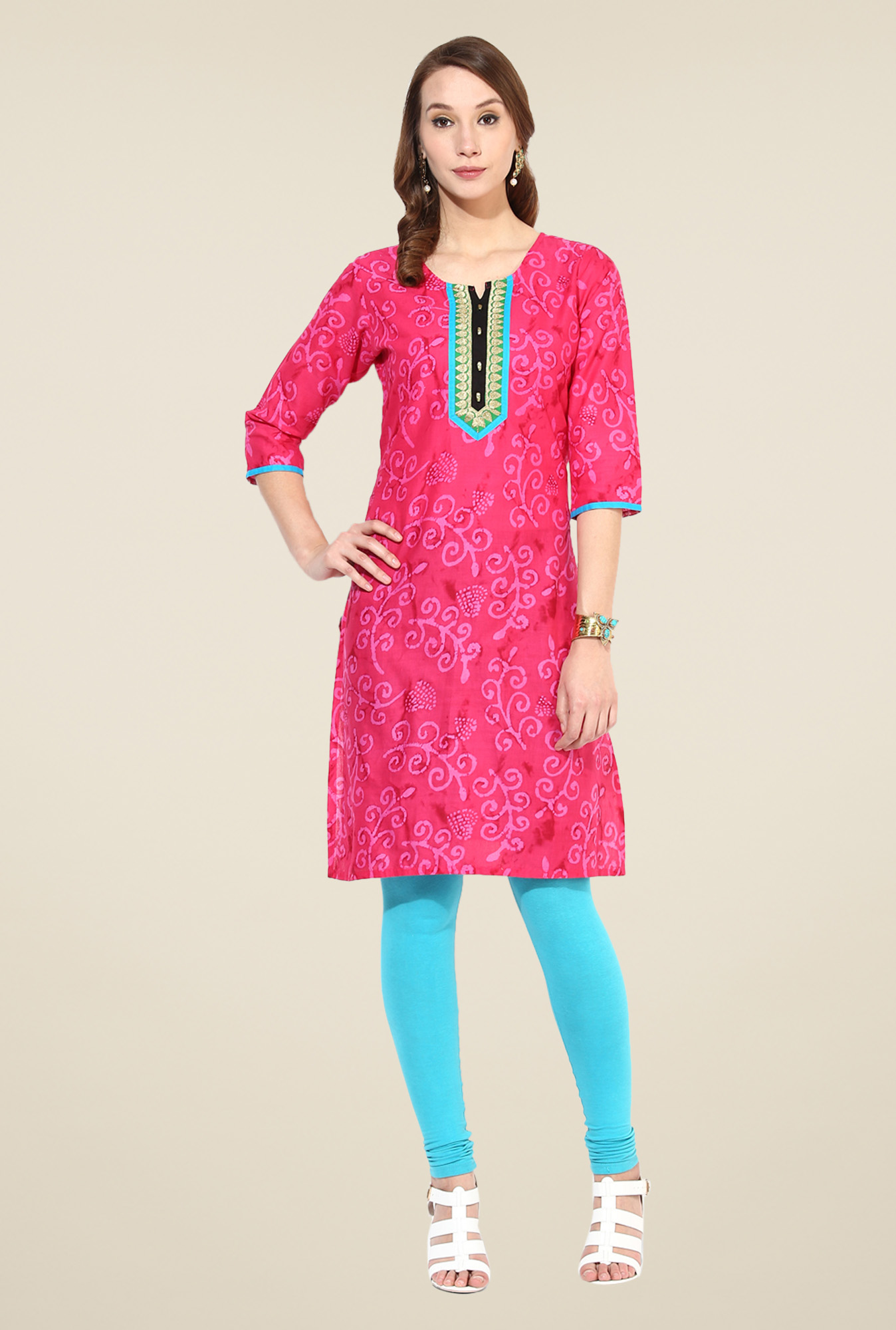 Shree Pink Cotton Printed Kurti