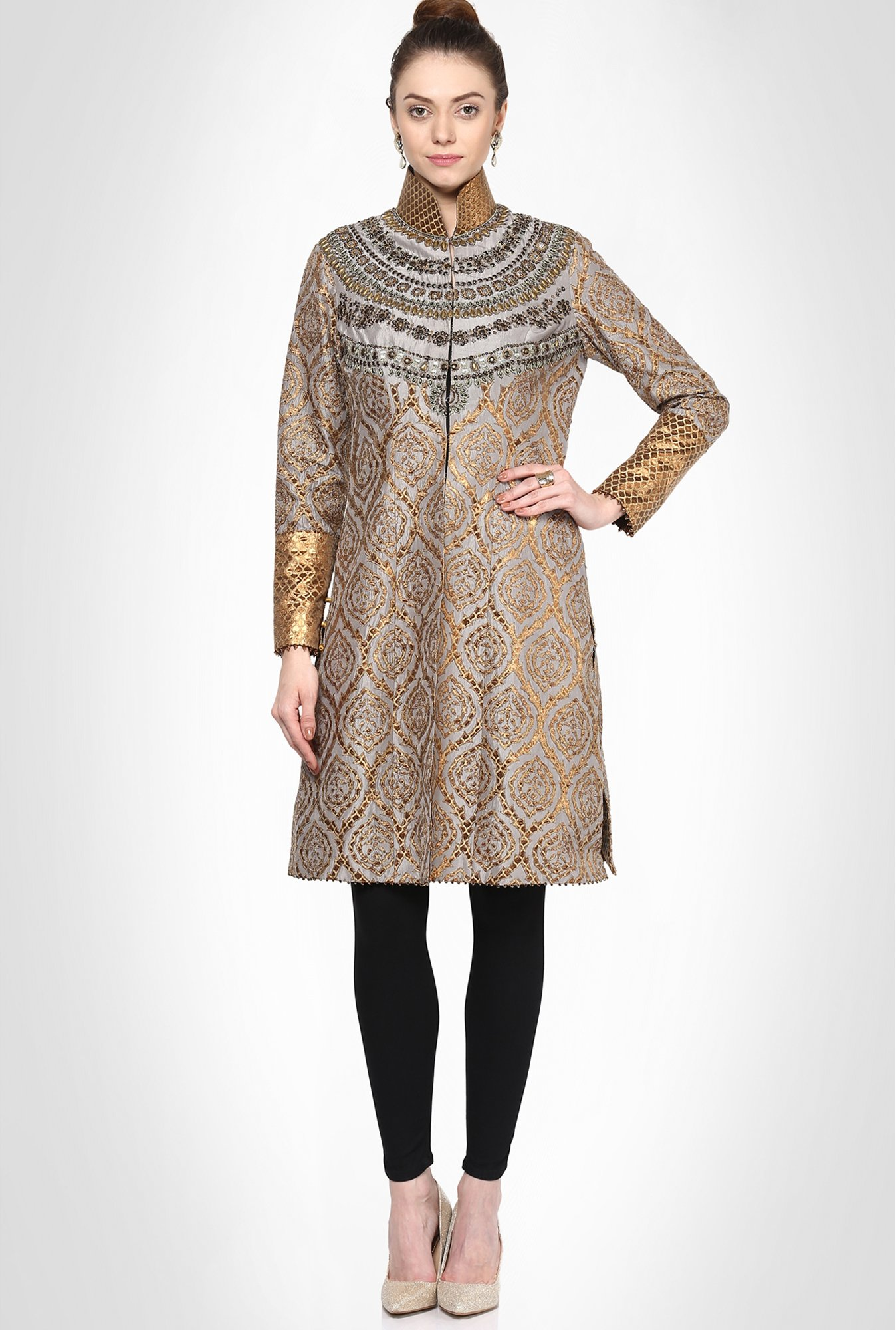 Jj Valaya Designer Wear Grey Gota Patti Kurta By Kimaya