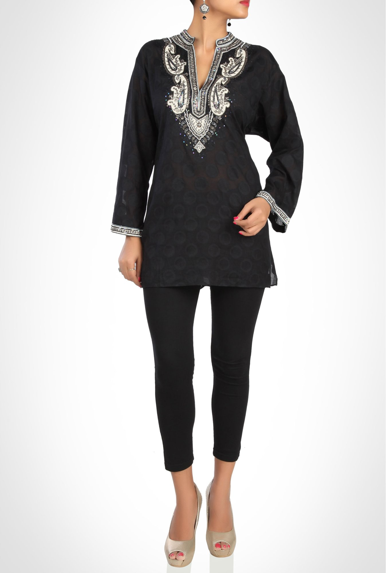 Sulu Designer Wear Black Embroidered Kurti By Kimaya
