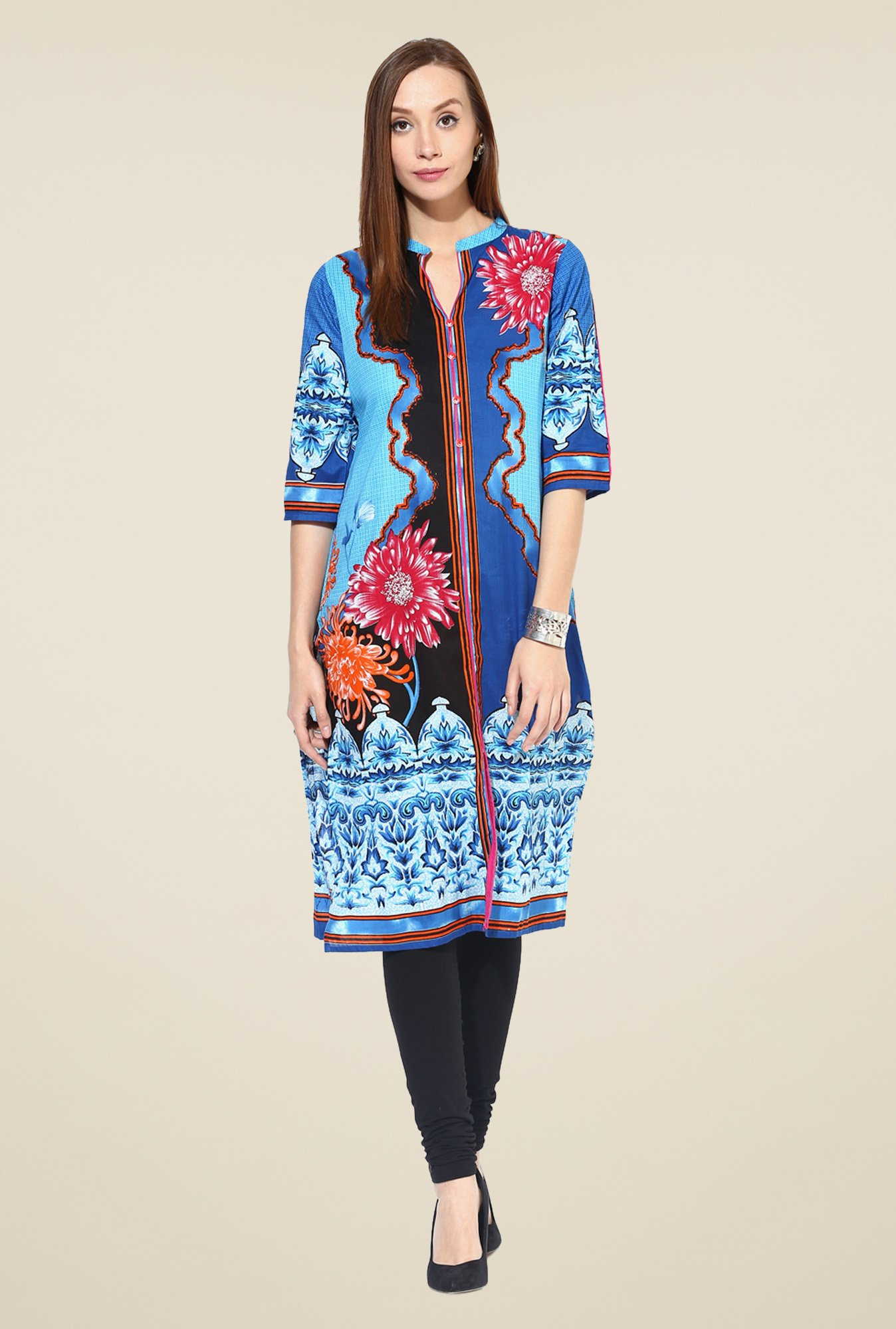 Shree Multicolor Cotton Floral Print Kurta