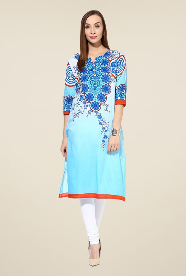 Shree Blue Cotton Floral Print Kurta