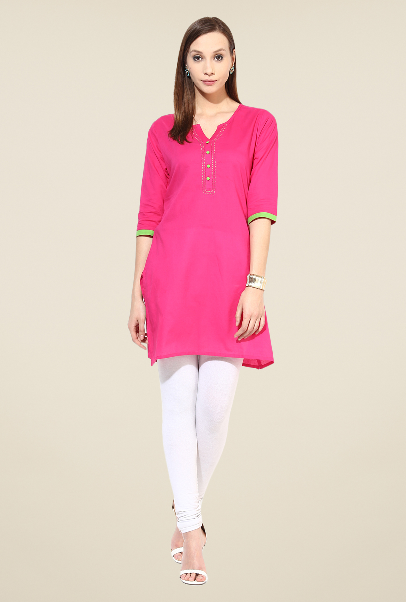 Shree Pink Cotton Solid Kurti