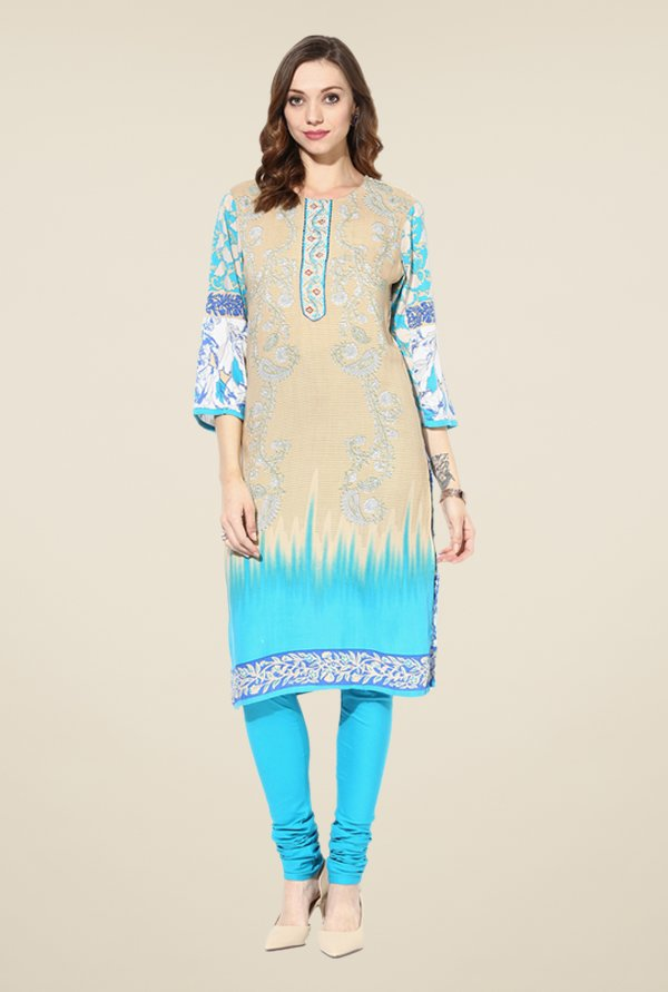 Shree Beige & Turquoise Rayon Embroidered Kurta