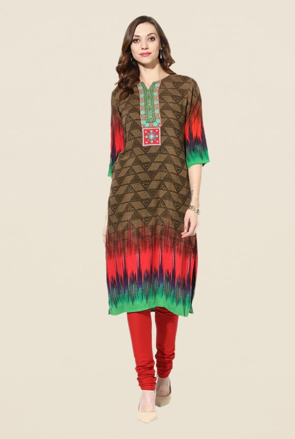 Shree Brown Rayon Printed Kurta