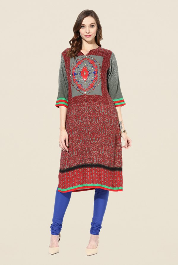 Shree Maroon & Grey Rayon Printed Kurta