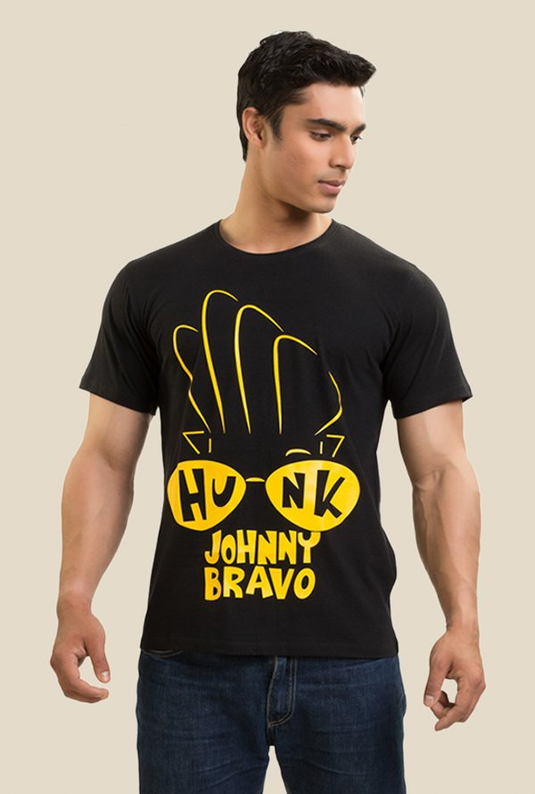 Johnny Bravo Hunk In Your Eyes Black Graphic T-shirt