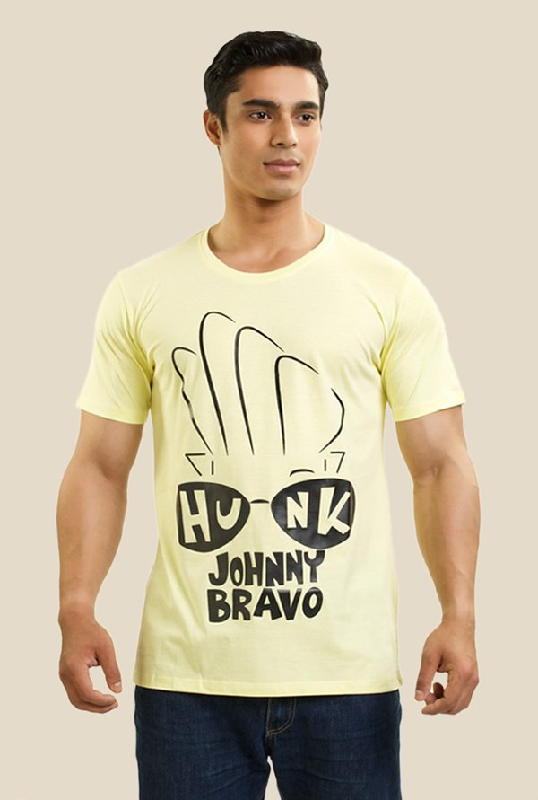 Johnny Bravo Hunk In Your Eyes Yellow Graphic T-shirt