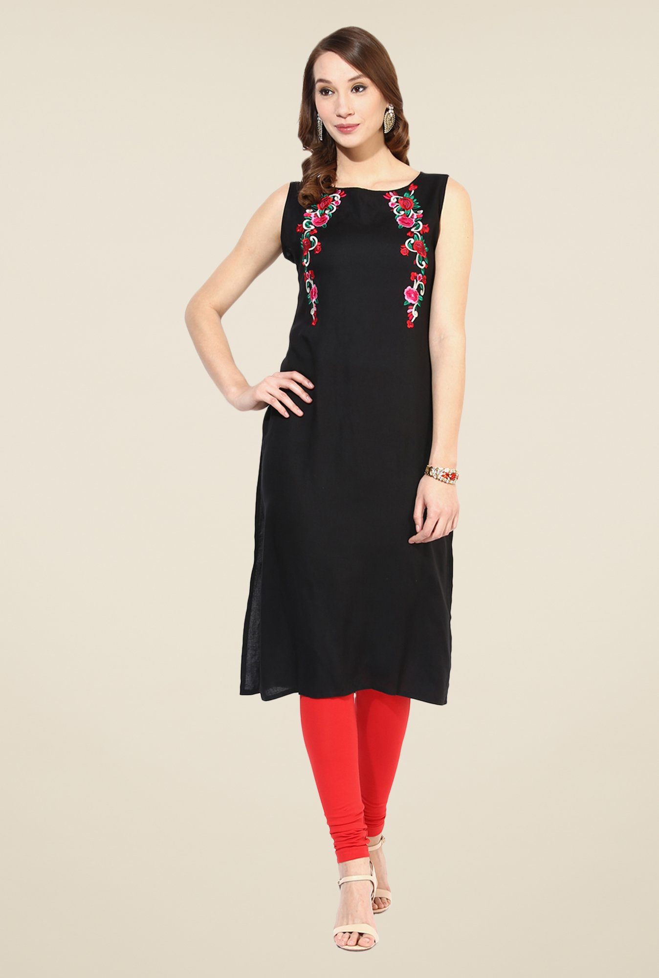 Shree Black Rayon Embroidered Kurta