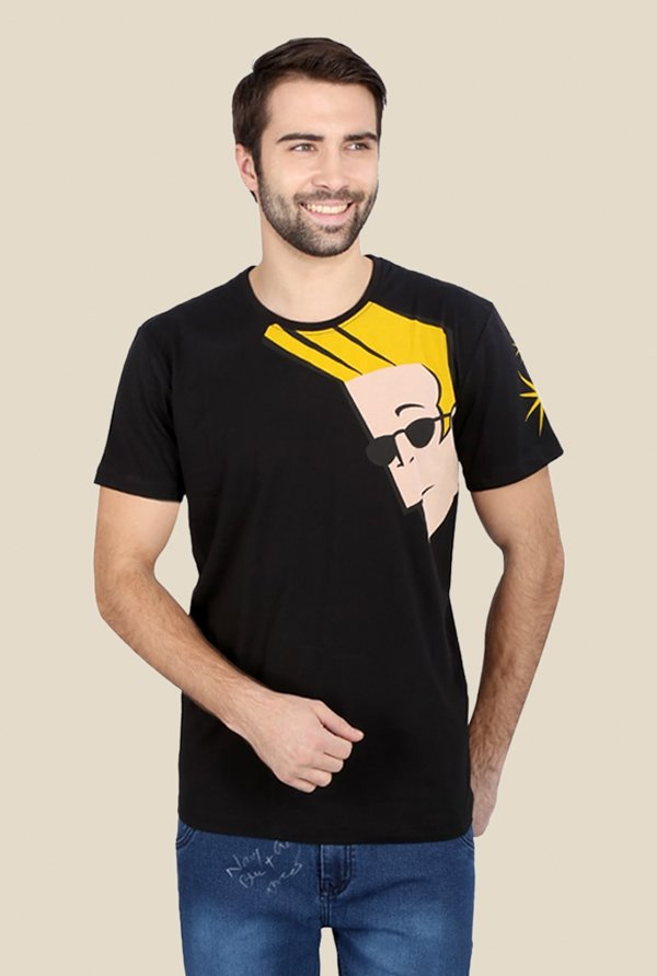 Johnny Bravo On Shoulder Black Graphic T-shirt
