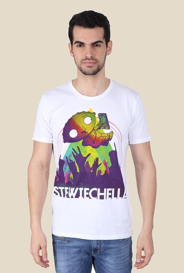 Family Guy Stewiechella White Graphic T-shirt