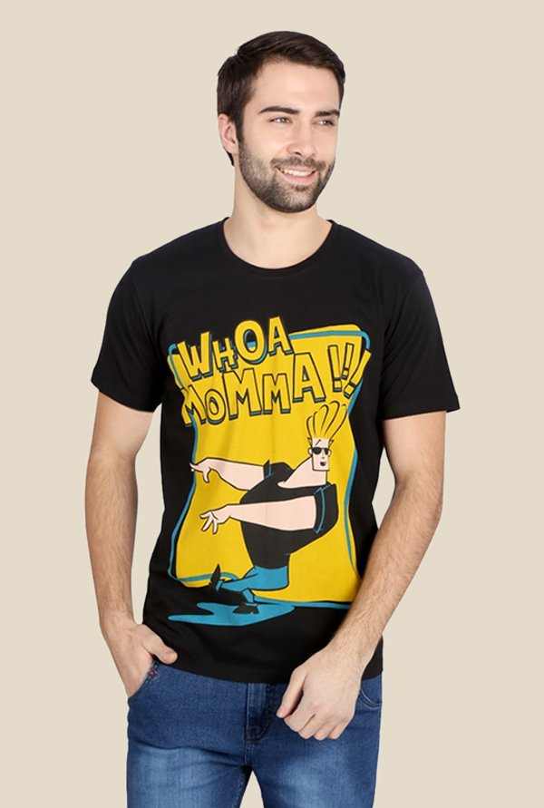 Johnny Bravo Whoa Momma Black & Yellow Graphic T-shirt