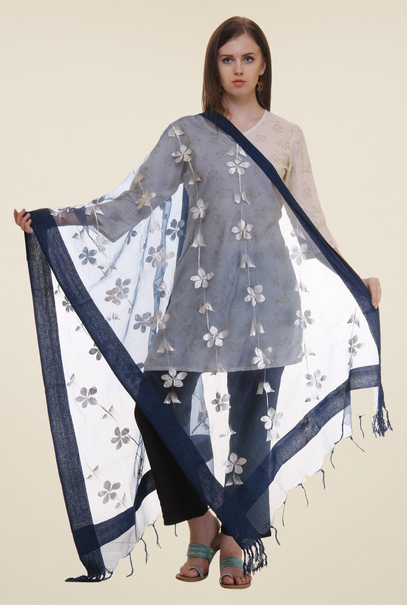 Shree Navy Polyester Dupatta