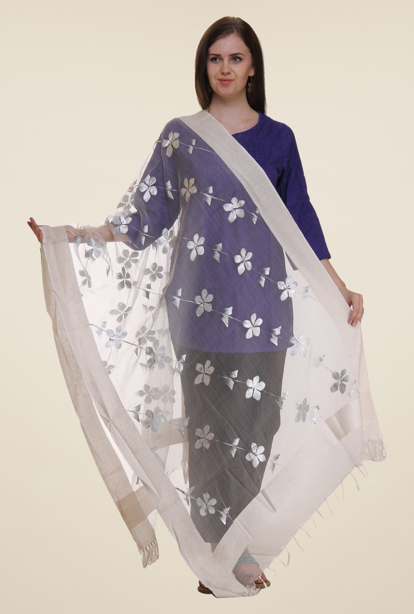 Shree Off White Polyester Dupatta