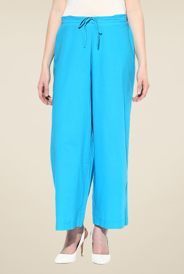 Shree Turquoise Cotton Palazzos